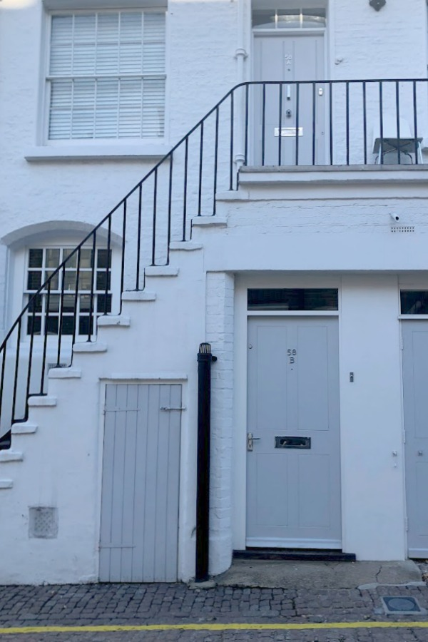 Gorgeous pale blue grey door in Notting Hill - Hello Lovely Studio. #bluegrey #frontdoor #paintcolors