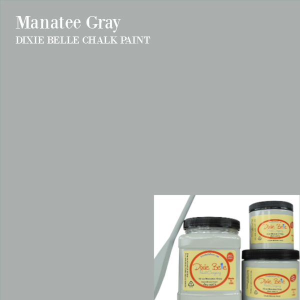 Manatee Gray Dixie Belle Chalk Paint color is a soothing grey with soft blue undertones. #chalkpaint #graychalkpaint #manateegray #dixiebelle