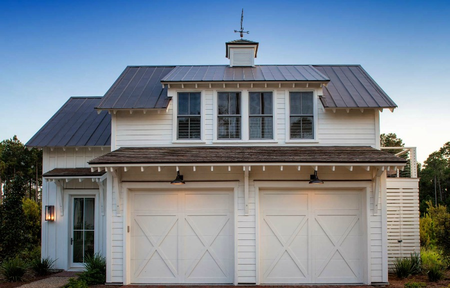 Coastal cottage board and batten architecture on garage and carriage house. Lisa Furey. #garage #coastalcottage #carriagehouse