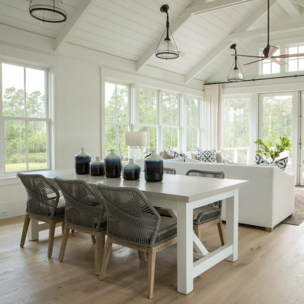 Coastal cottage dining area in great room. Lisa Furey Interiors. #cottagestyle #interiordesign #greatroom