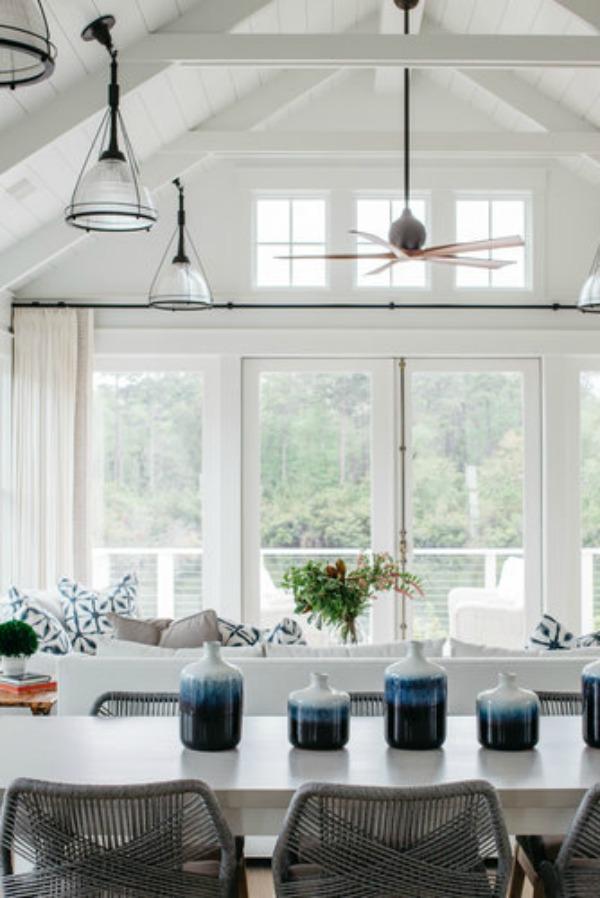 Coastal cottage great room in a lake house by Lisa Furey. #greatroom #coastalcottage #interiordesign