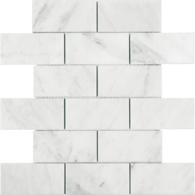 Allen + Roth polished venatino marble mosaic subway tile used in our kitchen. Hello Lovely Studio.