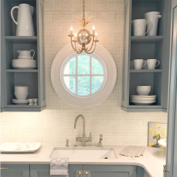 Atlanta Southeastern Designer Showhouse 2017 kitchen with Farrow & Ball Light Blue cabinets and brass hardware. Traditional Blue and White Kitchen Design Inspiration & Timeless Decorating Tips! #kitchendesign #blueandwhite #kitchens #bluekitchen #kitchendesign #lightbluecabinets