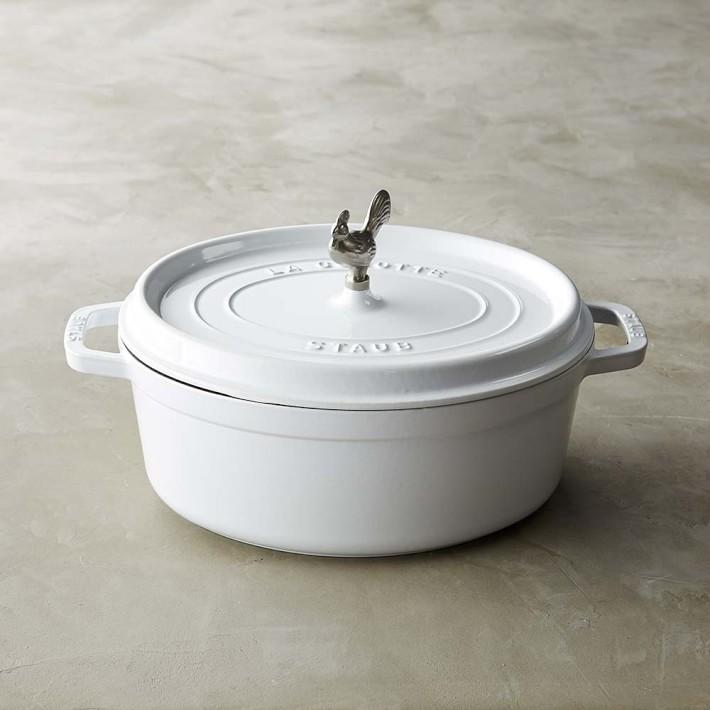 White cast iron Staub pan