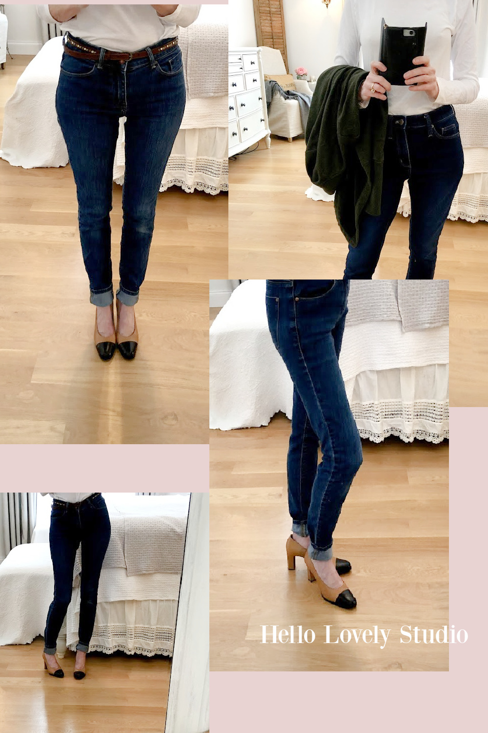 Hello Lovely Studio winter casual fashion over 50 - skinny jeans cuffed and vintage Gucci cap toe pumps. #fashionover50 #skinnyjeans #pumps #gucci