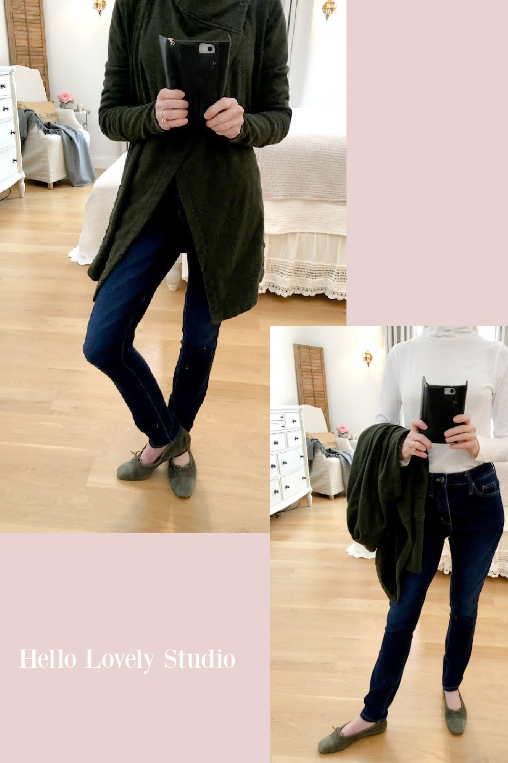 Hello Lovely Studio casual winter fashion over 50 - French terry assymetrical wrap, skinny jeans, white turtleneck, green suede Chanel flats. #fashionover50 #casual #chanelflats