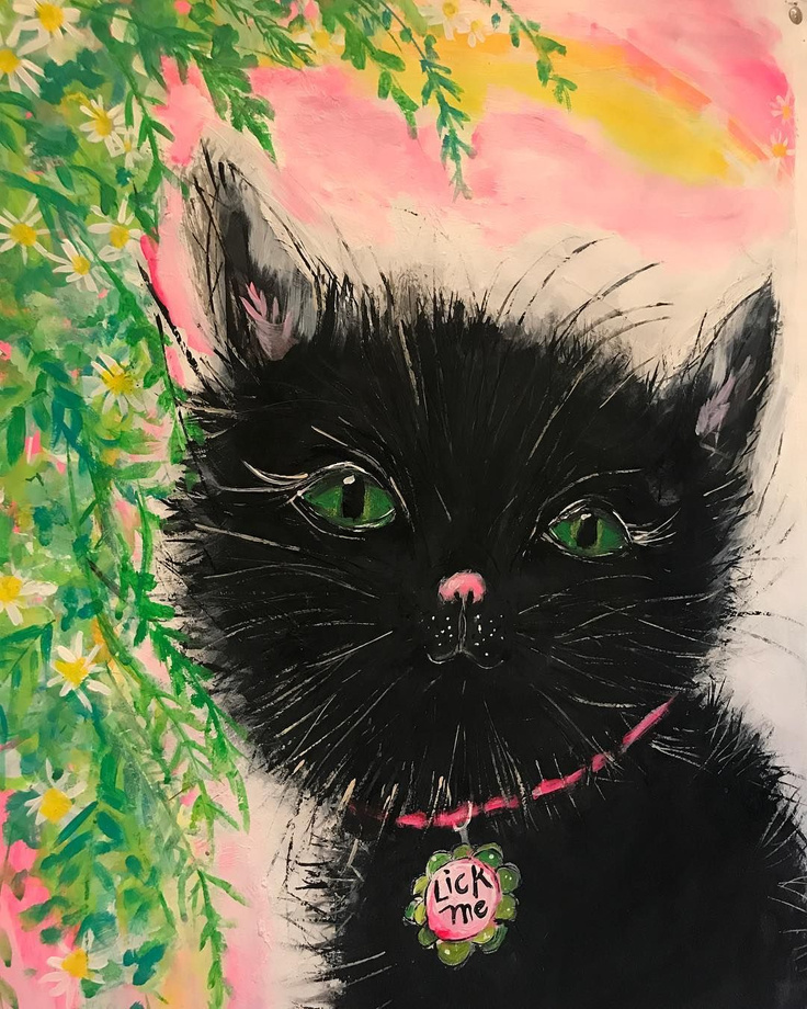 Beautiful, whimsical black cat art with happy colors - Jenny Sweeney.