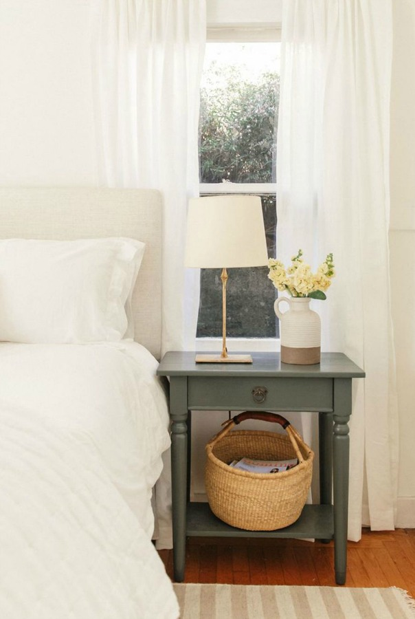 Simple white bedroom decor with white bedding and Eva short jug vase from Lulu & Georgia. #simpledecor #bedroomdecor #modernfarmhouse #interiordesign