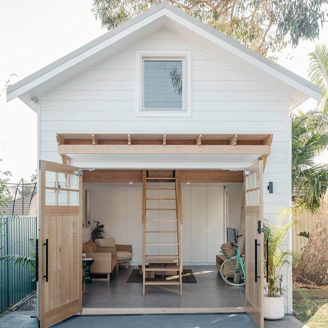 Charming barn style backyard guest house with loft - Loughlin Furniture. #backyardbarn #sheshed #cabana #guesthouse #farmhousedesign
