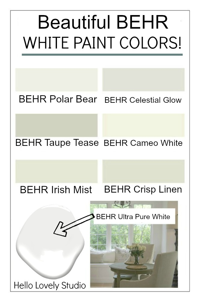 Beautiful BEHR white paint colors on Hello Lovely Studio. #bestwhitepaint #whitepaintcolors #behrwhites #behrwhitepaintcolor