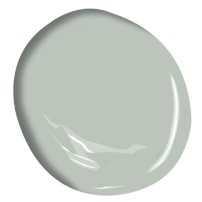 A soft pastel green-gray paint color: Benjamin Moore Tranquility. #benjaminmooretranquility #paintcolors #lightgrey