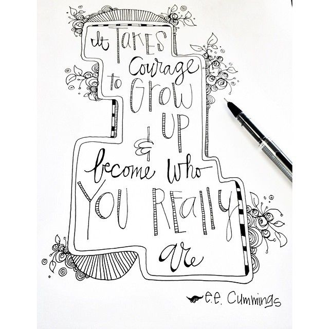 Jenny Sweeney hand lettered EE Cummings quote and illustration.