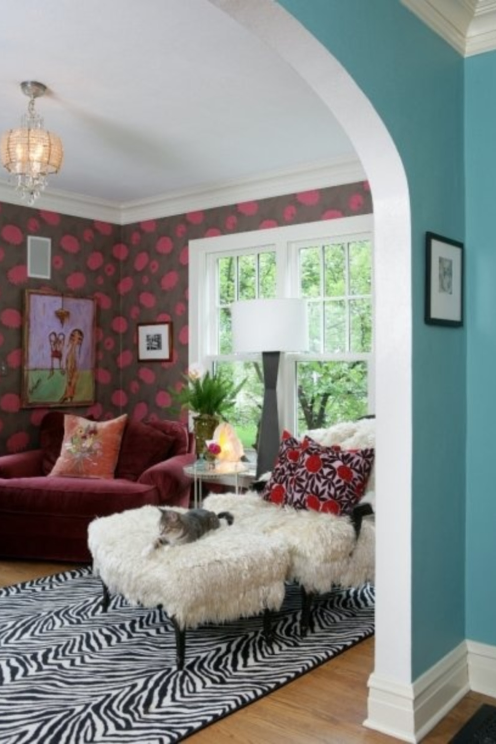 Bold 70's inspired whimsical wallpaper in an eclectic music room by Jenny Sweeney with flea market style.