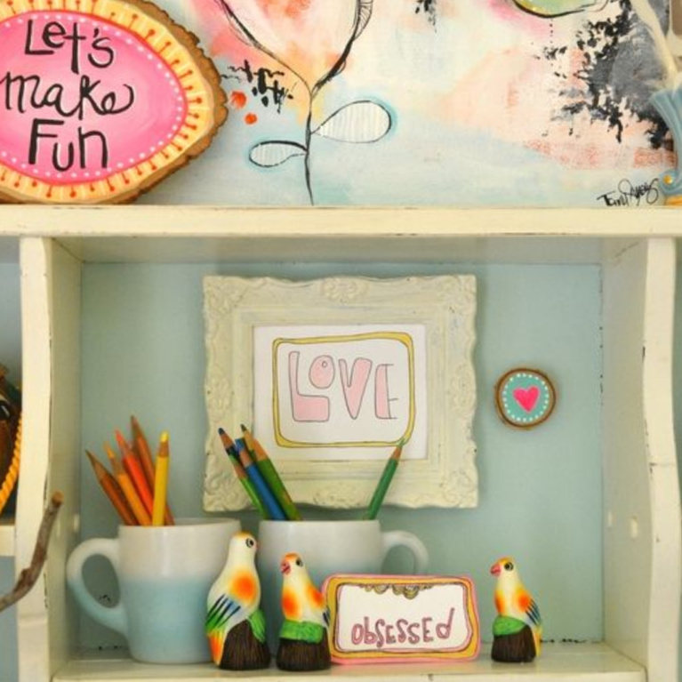 Delightful and cheerful vintage 70's groovy vignette in the home of artist Jenny Sweeney.