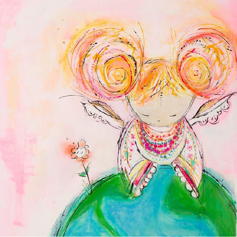 Whimsical colorful earth angel greeting card and art by Jenny Sweeney.