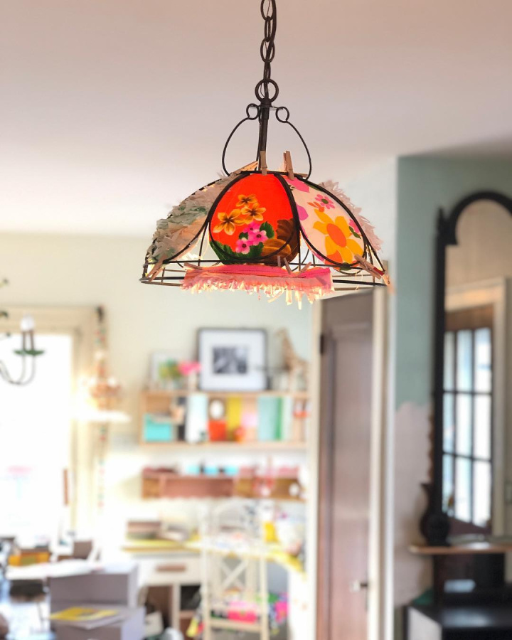 Colorful whimsical custom artful pendant light in a beachy boho home - Jenny Sweeney.