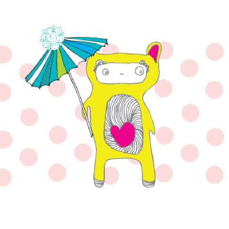 Whimsical greeting card with little yellow bear with parasol by Jenny Sweeney.