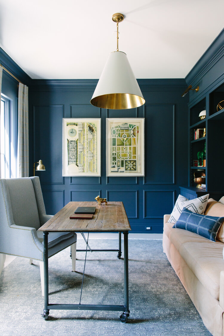 Rich and moody blue walls in an office/study with design by Kate Marker in Barrington, IL. Come enjoy encouraging love quotes and timeless decor inspiration! #modernfarmhouse #bluewalls #office