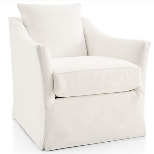 Keely White Slipcovered Swivel Chair - Crate & Barrel