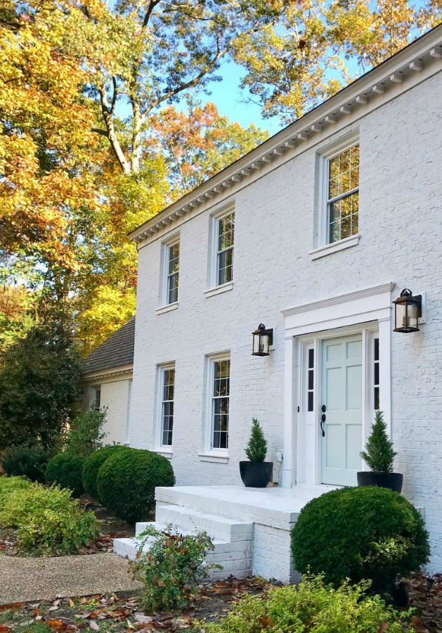 White painted brick house exterior - Young House Love. #whitebrick #houseexterior #housedesign #whitehouses #sherwinwilliamsmodernewhite #benjaminmooretranquility