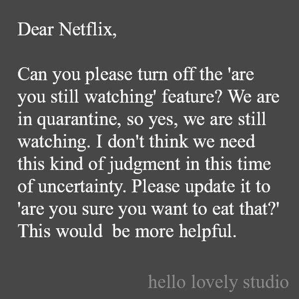 Funny quote and humor about Neflix during pandemic on Hello Lovely Studio. #funnyquote #humor #quotes #pandemic #netflix