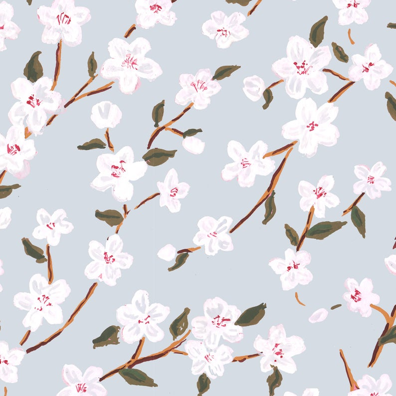 Blue cherry blossom gift wrap - The Illustrated Life on Etsy. #cherryblossoms #giftwrap #springpattern