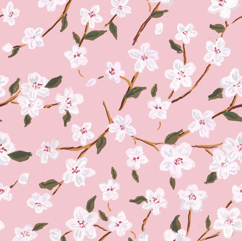 Pink cherry blossom gift wrap by The Illustrated Life on Etsy. #cherryblossoms #springpattern #giftwrap