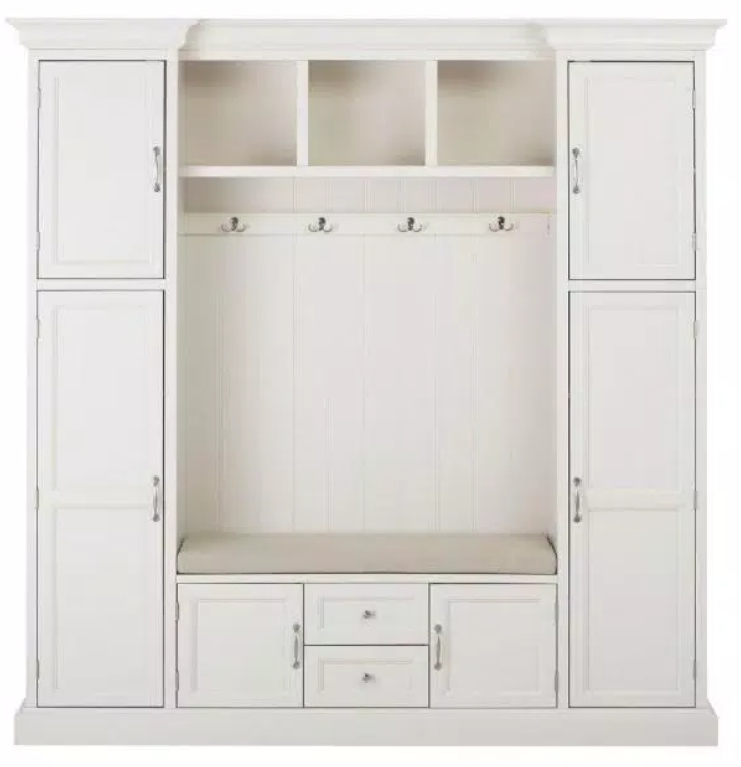 Coastal style hall tree unit with built in bench, cabinets, and open shelving and hooks - Royce 79.25 in.