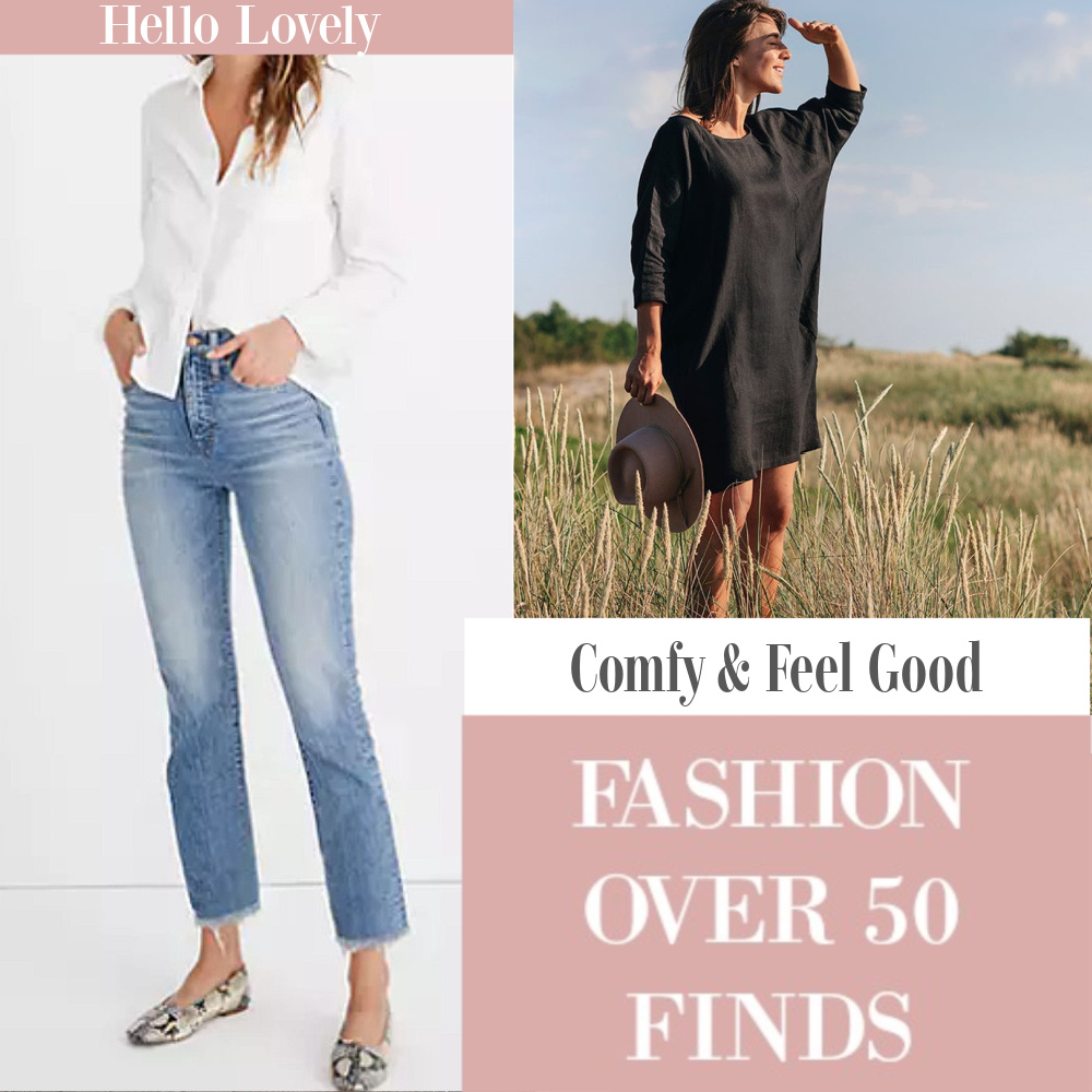 Hello Lovely Comfy Feel Good Fashion Over 50 Finds: come explore casual wardrobe pieces to layer on Hello Lovely! #getthelook #fashionover50 #over50fashion