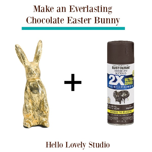 This everlasting chocolate Eastern bunny is a super easy spring DIY or simple Easter craft. Hello Lovely Studio. #eastercraft #chocolateeasterbunny #easterbunny #springdiy