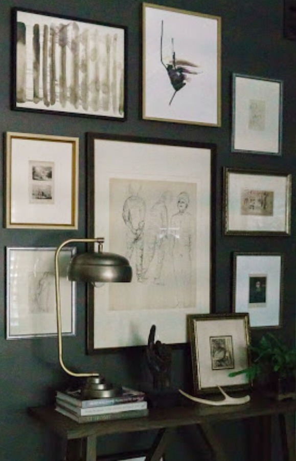 Benjamin Moore Iron Mountain painted bedroom gallery wall - design by Sherry Hart. #benjaminmoore #ironmountain #darkgray #paintcolors