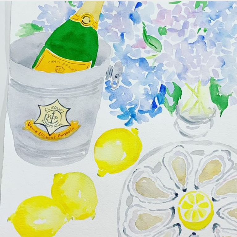 Champagne, lemons, oysters, hydrangea watercolor still life by Jeanne McKay Hartman. #stilllife #watercolor #spring #lemons #champagne #illustrations