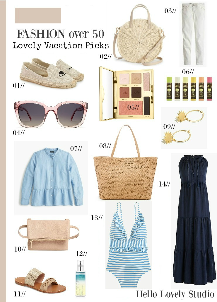 Lovely facation picks spring break fashion over 50 on Hello Lovely. #springbreak #whattopack #fashionover50 #vacationpicks