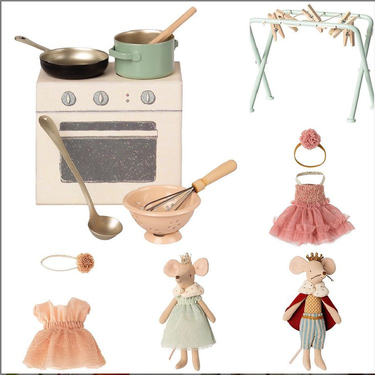 Maileg toys including mice and kitchen accessories.