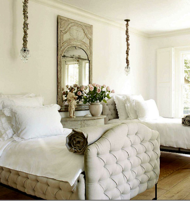 Pamela Pierce designed French bedroom with twin tufted beds and trumeau mirror. #pamelapierce #frenchcountry #interiordesign #bedroomdecor