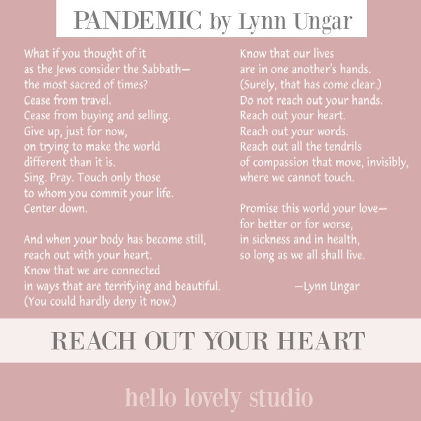 Pandemic poem by Lynn Ungar to direct your gaze heavenward and see that all is sacred - even this troubling time. #pandemic #inspirationalquotes #poetry #hellolovelystudio