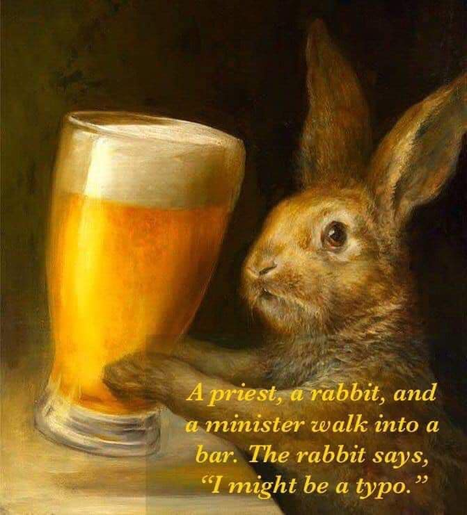 Funny meme with rabbit and beer.