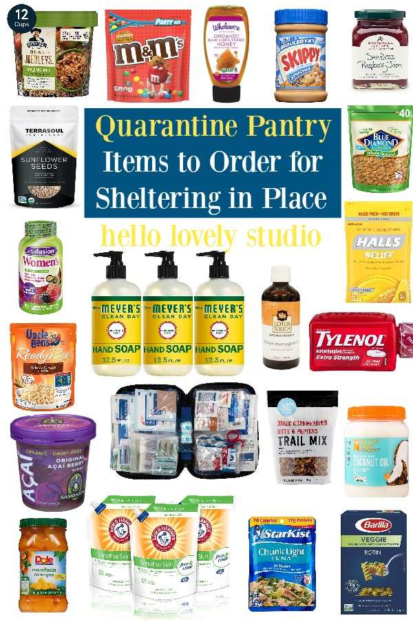Quarantine pantry items to order for sheltering in place during the covid 19 pandemic. #covid19 #pandemic #supplies #pantry #qurantinesupplies