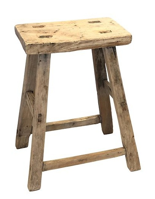 Antique rustic wood stool made of elm. #rusticwoodstool #antiques #elmwood