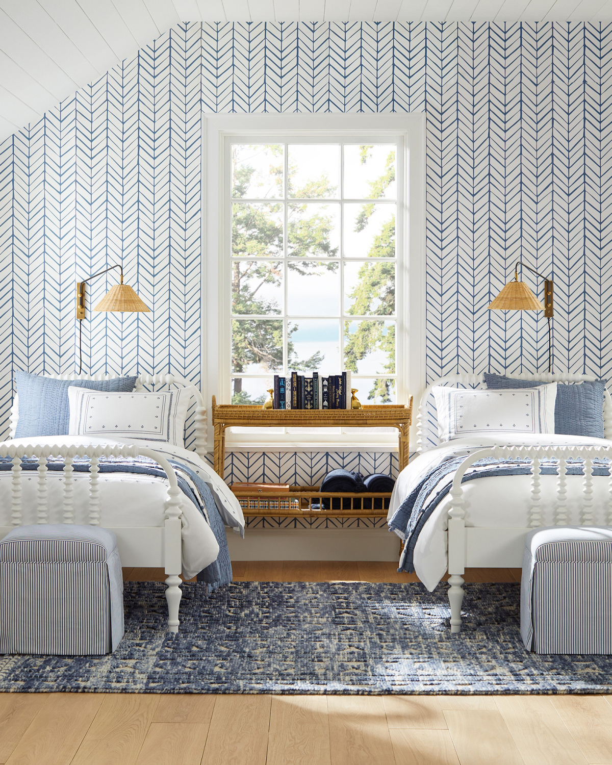 Beautiful blue and white coastal bedroom with twin beds, wallpaper, and freshened traditional style - Serena & Lily.