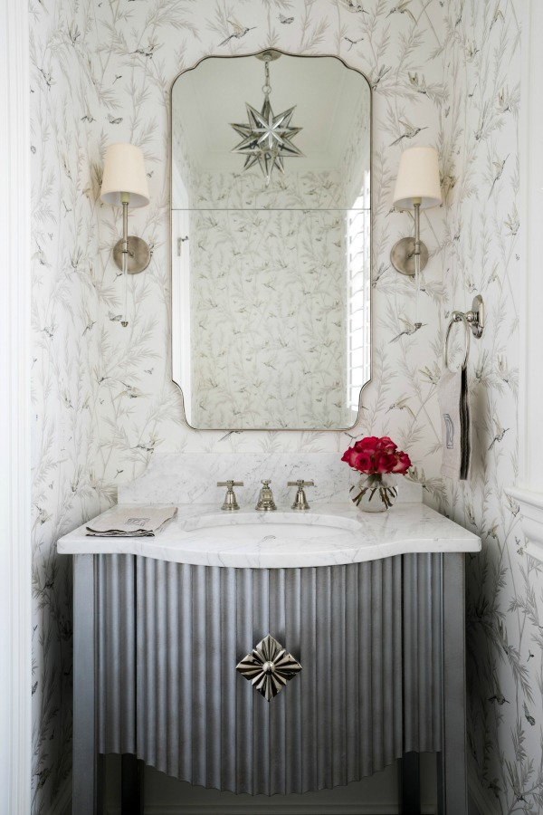 Elegant bathroom with hummingbird wallpaper and traditional decor - by Sherry Hart. #bathroomdesign #hummingbirds #interiordesign #bathroomvanity