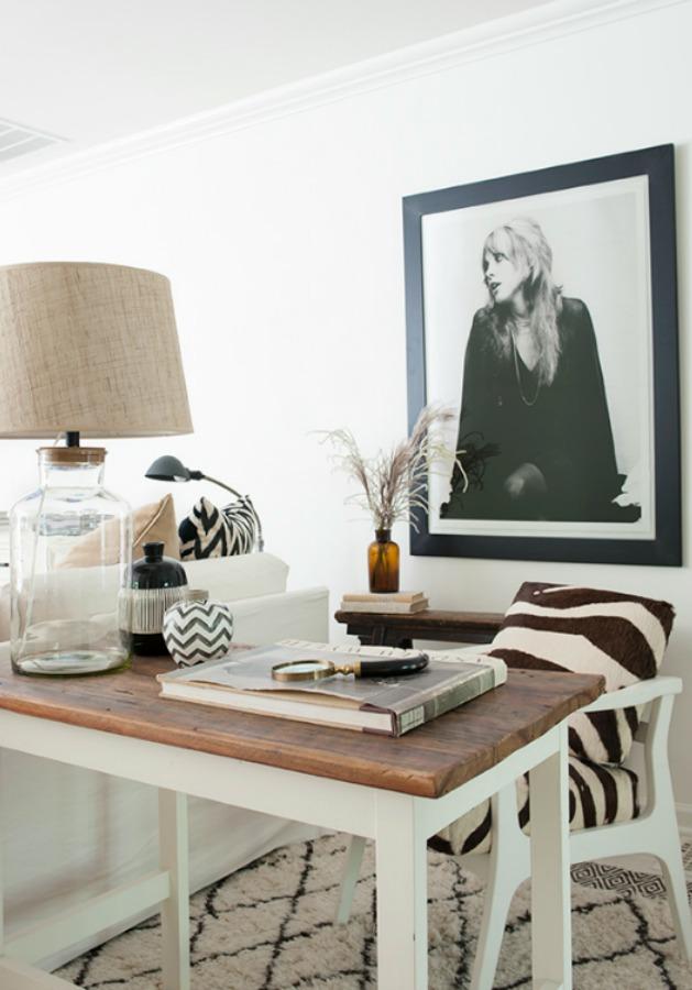 Stevie Nicks framed print on wall of beautiful work area with desk - design by Sherry Hart. #neutraldecor #interiordesign #office