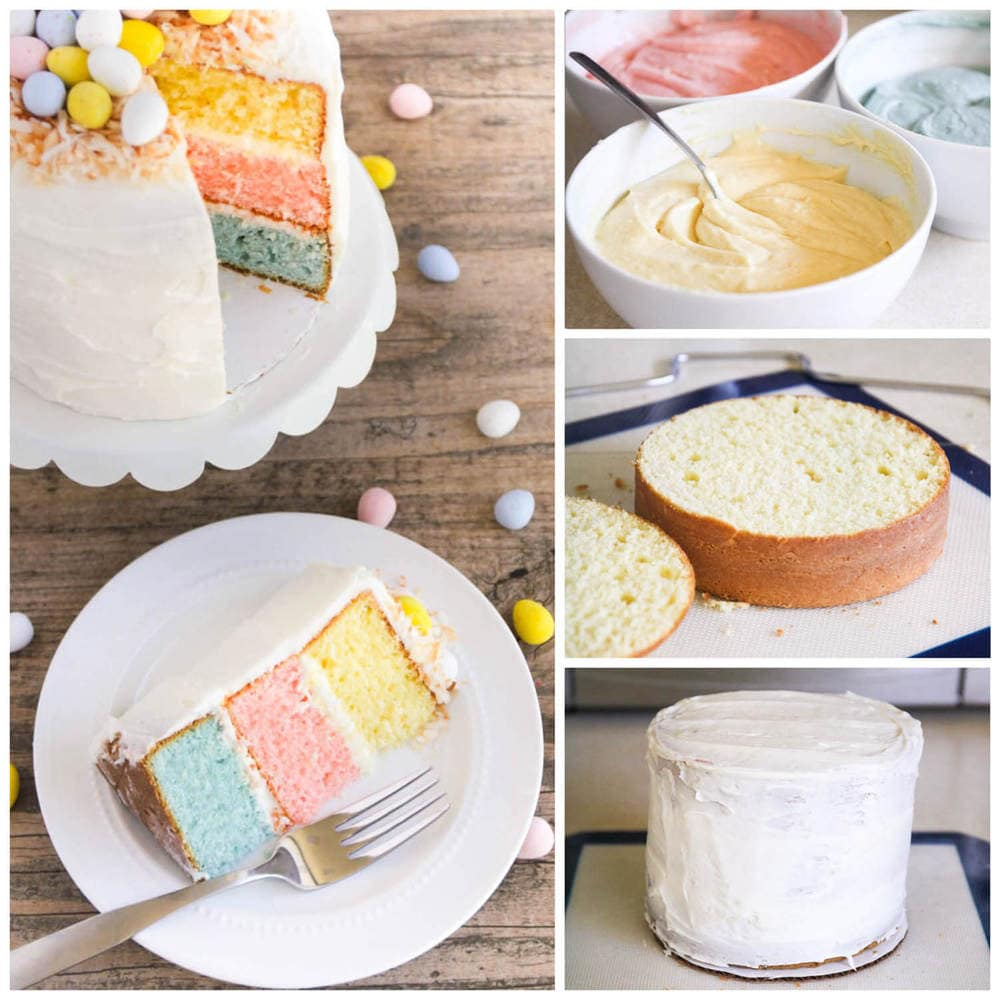 Pretty and colorful with pastel layers, this charming Easter layer cake from I Heart Naptime is a perfect recipe to make with kids! #layercake #eastercake #colorfulcake #springcraft #springrecipe