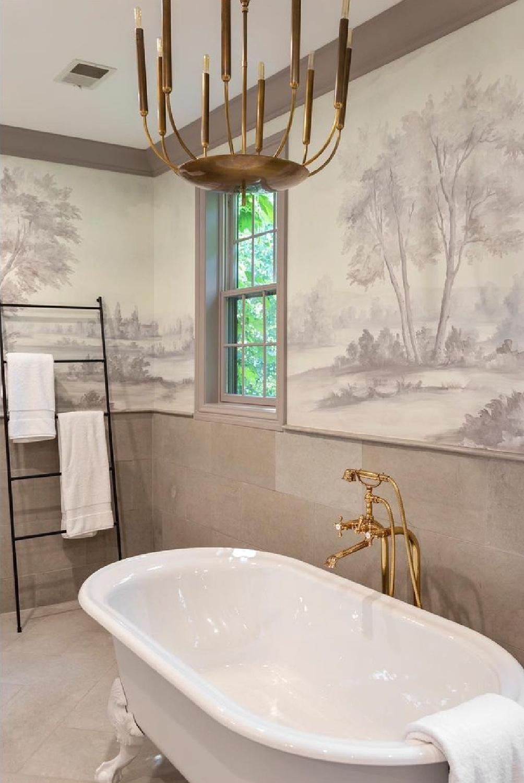 Susan Harter mural in a charming traditional bathroom with clawfoot tub - Erin Vondra Design. #susanharter #wallmural #muralwallpaper #bathroom