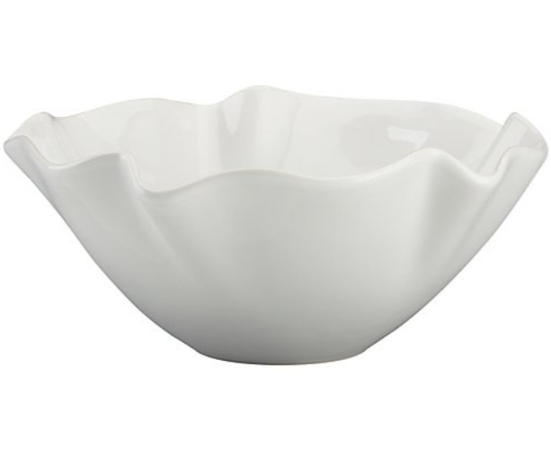 "11"" White ruffle bowl from Crate and Barrel is the small size, and it is perfect as a fruit bowl, holding snacks, or serving a salad. #whitebowl #kitchenwares #crateandbarrel"