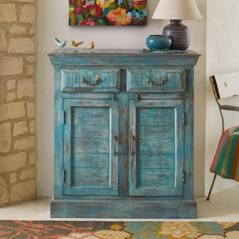 Azura turquoise cabinets from Sundance catalog