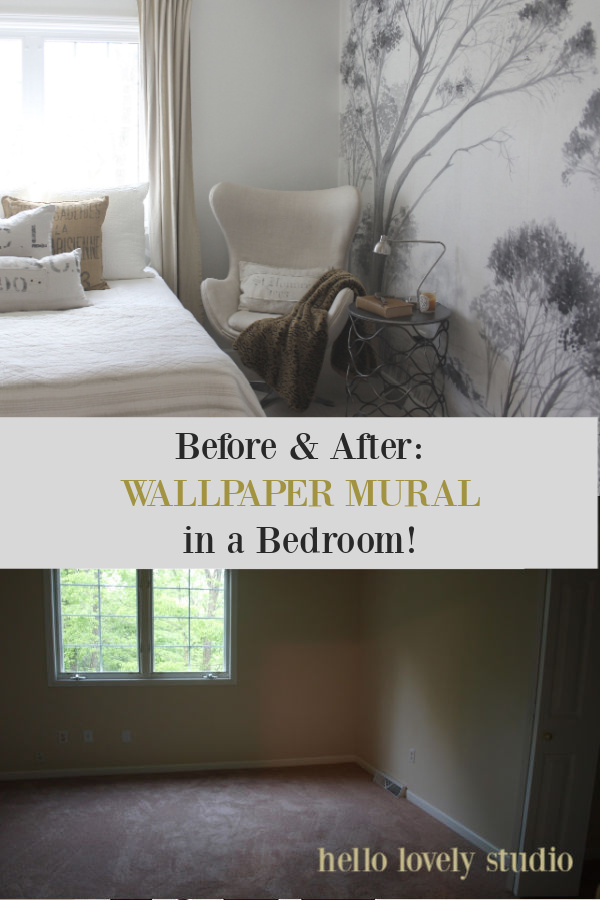 Before and after wallpaper mural in a bedroom on Hello Lovely - come see the transformation! #wallpaper #mural #bedroomdecor