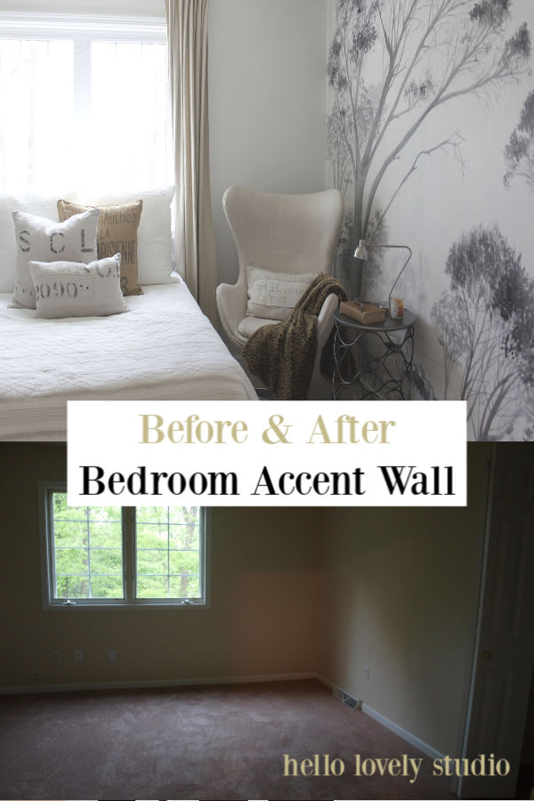Before and after bedroom accent wall with wallpaper mural from Photowall - Hello Lovely Studio.