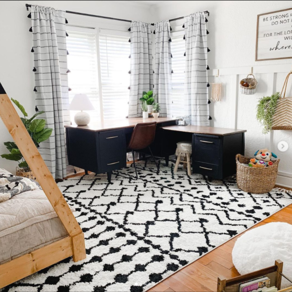 Black and white bedroom with teepee bed - Ashley Bradley Art. #blackandwhite #bedroomdecor