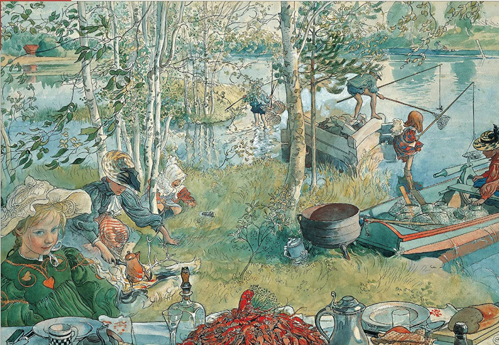 """Carl Larsson's c. 1839 painting """"Crayfishing"""" is a lovely Swedish scene holding the promise of summer bliss."""